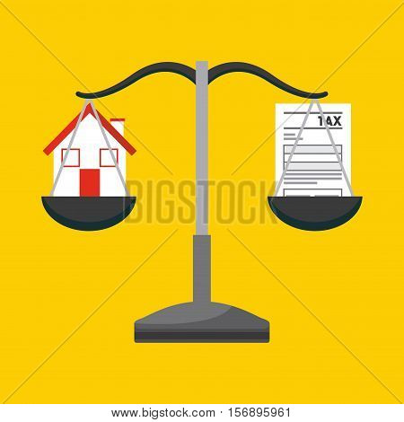 scale with house and tax documents over yellow background. tax design. vector illustration