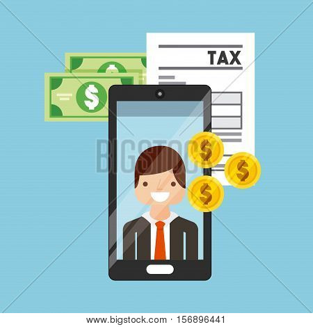 money bills and coins and tax documents with smartphone with cartoon man on screen over blue background. tax design. vector illustration