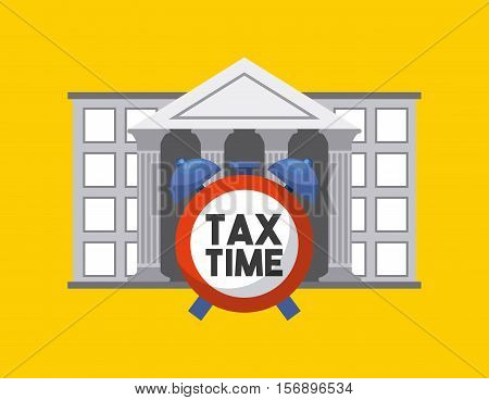 bank icon with clock of tax time over yellow background. tax design. vector illustration
