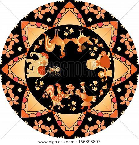 Year of the Rooster. Decorative plate with cute cartoon animals and circular border in golden tones on black background. Cock, hen, cat, kitten, birds, monkey, elephant and flowers. 2017. Souvenir.