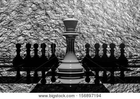 3D Rendering : Illustration Of Chess Pieces.the Ceramic King Chess At The Center With Pawn Chess In