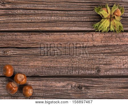 Ripe delicious filberts over old wooden background with empty space for text
