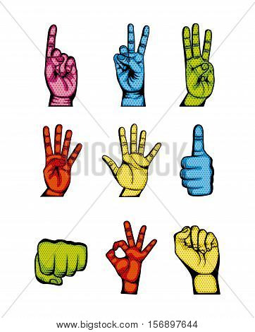 icons set of colorful human hands in pop art style over white background. vector illustration