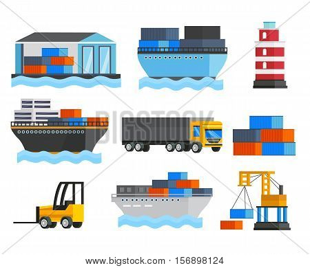 Sea port orthogonal icons set with ships and truck lighthouse depot and freight loader isolated vector illustration