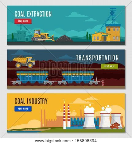 Three colorful mining industry horizontal banners set with flat factory mine vehicles images read more button vector illustration