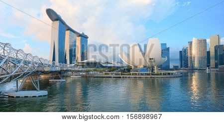 Singapore, Republic of Singapore - May 7, 2016: Helix spiral double bridge leading to Marina Bay Sands hotel and ArtScience museum