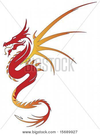 Orange and red dragon on white