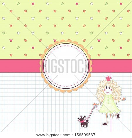 Vector card. Princess for a walk with her dog. Background with colored crowns and sheet into the cage. Decorative ribbon and frame for your text.