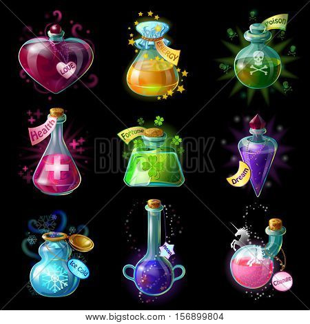 Isolated cartoon style magic potions for transformations set with colorful liquids in jars if different shape vector illustration