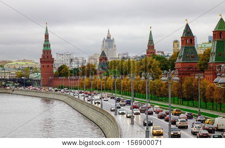 Kremlin And Embankment Of The Moscow River