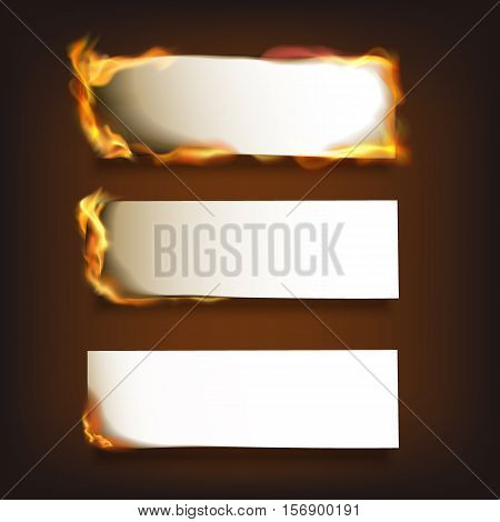Burning blank paper sheets set with various degree of ignition on black background isolated vector illustration
