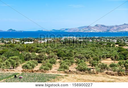Greece Dodecanese Kos view on the island from Zia village