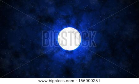 Under the Moon and Clouds with Dark Blue Background 2D Illustration, Mystic Moon Backround, Dark Night