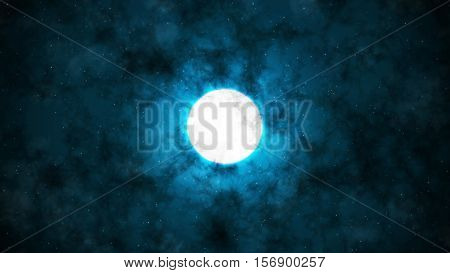Under the Moon and Clouds with Blue Background 2D Illustration, Mystic Moon Backround, Dark Night