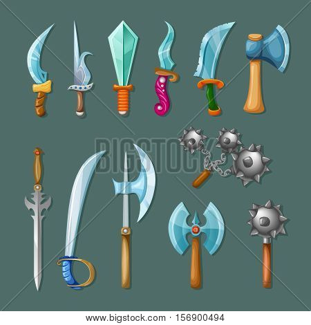 Set icon cartoon isolated and colored weapons for rpg games and design vector illustration