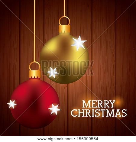 merry christmas card with balls decorations icons hanigng over wooden background. colorful design. vector illustration