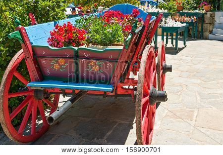 Greece Dodecanese Kos a carriage in a tavern in Zia village