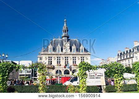 PARIS, FRANCE- circa may 2016. View of the hotel de ville . Vincennes is a village that is next to Paris, in France