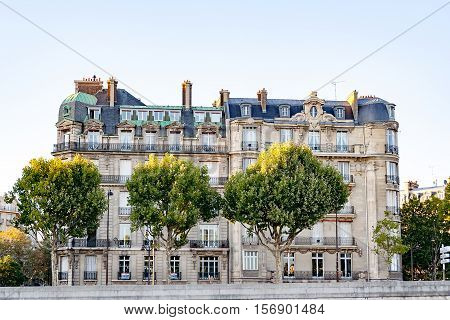 Old classic house  on bank of river Seine in Paris, France