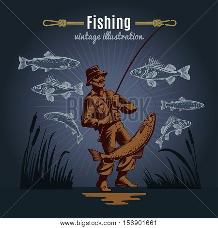 Fishing vintage decorative icons composition with drawn style fishes reeds and fisher character on dark background vector illustration
