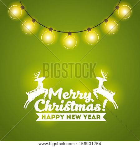 merry christmas card with lights and deer decoration icons. colorful design. vector illustration
