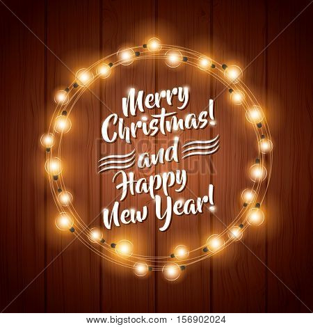 merry christmas card with decorative wreath of bulb lights icons over wooden background. colorful design. vector illustration