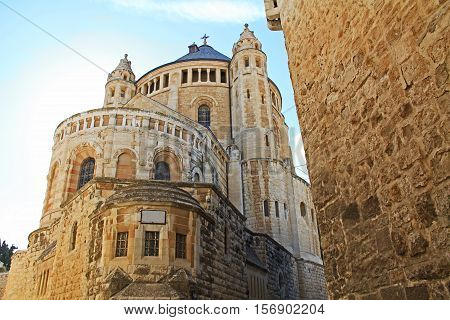 The historical Dormition Abby in Jerusalem, Israel on Mt. Zion.