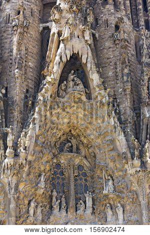 BARCELONA, SPAIN - JUNE 27, 2016: Details of facade of Basilica Sagrada Familia, on June 27, 2016 in Barcelona, Catalunya, Spain.