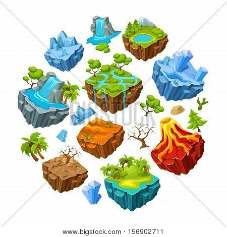 Set of gaming islands and landscape elements  in circle shape with plants and stones isolated vector illustration