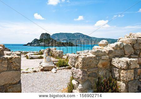 Greece Dodecanese Kos the ruins of Agios Stefanos basilica in the Kefalos bay