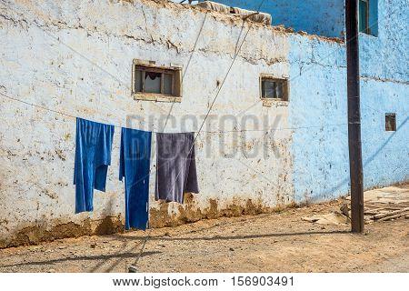 Blue Laundry Drying Outside, Turpan, China
