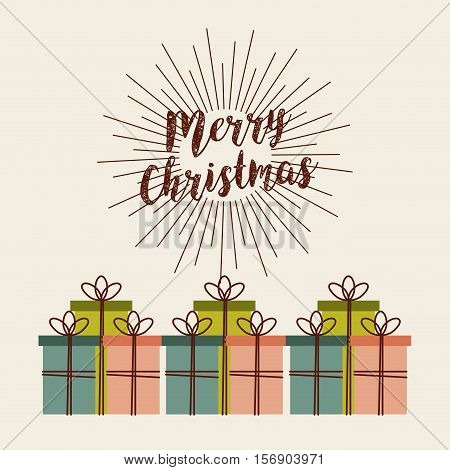 merry christmas card with gift boxes  decoration icons. colorful design. vector illustration