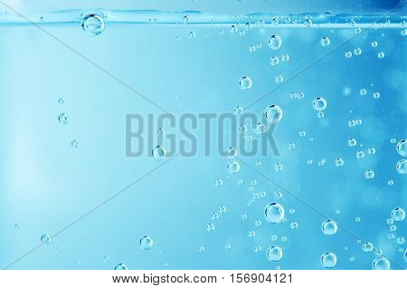 water bubbles on blue background. close up