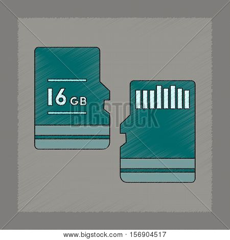 flat shading style icon of micro SD