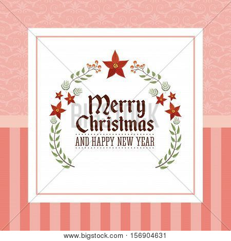 merry christmas and happy new year card with decorative elements. colorful design. vector illustration