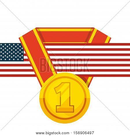 winner gold medal icon with usa flag over white background. vector illustration