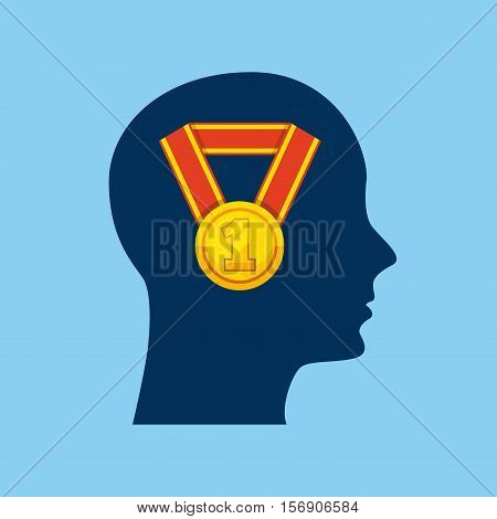 profile head with winner gold medal icon inside over blue background. vector illustration