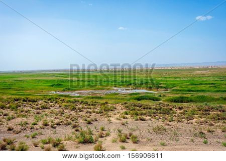 Wetland Oasis Lake In Gobi Desert, Dunhuang, China