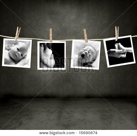 Fotos de um recém-nascido e a mãe em um quarto escuro