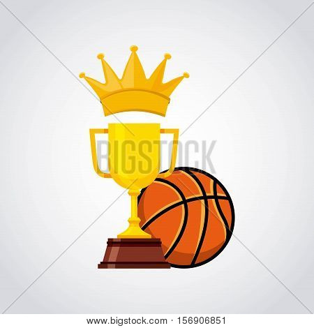 gold trophy with basketball ball over white background. sport competition. vector illustration