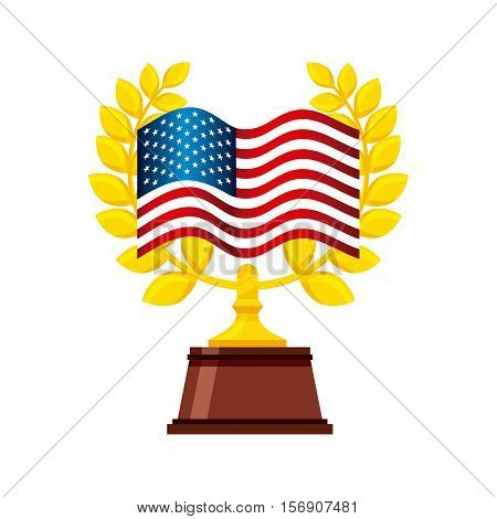 gold trophy with usa flag decoration over white background. colorful design. vector illustration