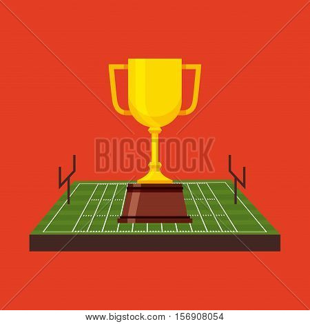 american football trophy cup inside field over red background. sport competition. vector illustration