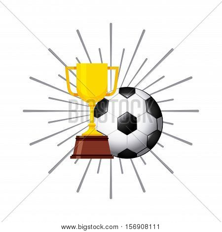 gold trophy with football ball over white background. colorful design.  vector illustration