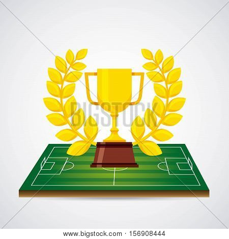 gold trophy with football sport concept over white background. colorful design. vector illustration