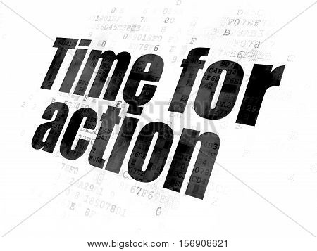 Time concept: Pixelated black text Time for Action on Digital background