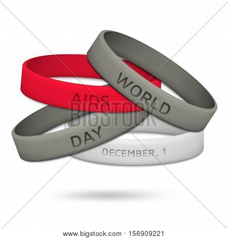 World AIDS Day, December 1st.  Poster with rubber wristbands. Vector illustration