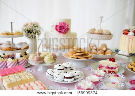Table with loads of cakes, cupcakes, cookies and cakepops. Studio shot.