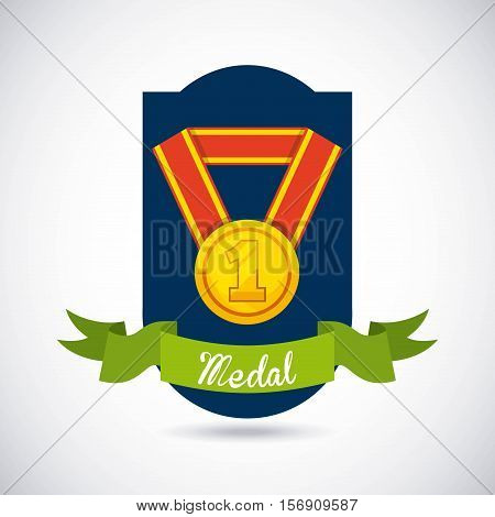 badge with winner gold medal icon inside with green ribbon over white background. vector illustration
