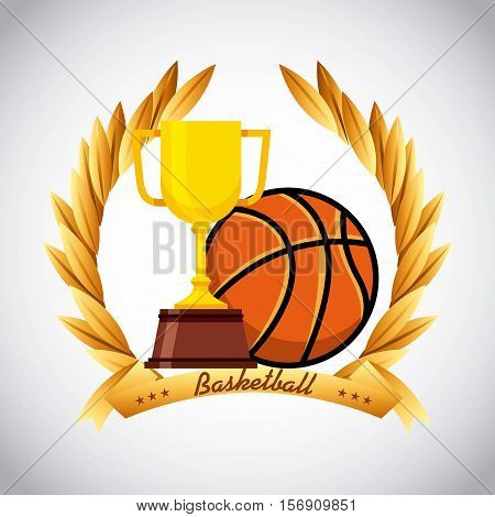 gold trophy with basketball ball icon and leaves wreath decoration over white background.. vector illustration