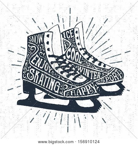 Hand drawn label with textured ice skates vector illustration and